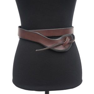 Leather Knotted Double Wrap Infinity Belt Small